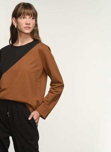 NGSTYLE NGKAW21SW0004 Renk Bloklu Sweatshirt Camel